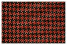Dk Red and Black Houndstooth Canvas Tweed Fabric 55