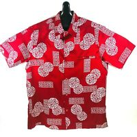 Tori Richard Vintage 70s Mens Hawaiian Aloha Shirt Red Small