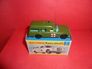 HTF Matchbox Superfast #3-Mercedes Ambulance In Military Green,NMIEB,1978/80.