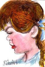 ACEO Pretty Little Red Head Girl Braids WC + Pen Illustration Art Penny StewArt
