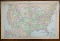 "Vintage 1900 UNITED STATES of AMERICA Atlas Map 22""x14"" ~ Old Antique USA"