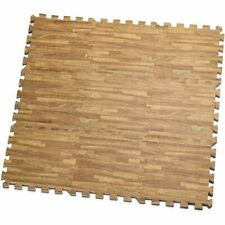 HemingWeigh Interlocking Foam Floor Mats with Wood Grain Design - 9 Pieces