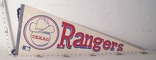 TEXAS RANGERS MLB BASEBALL TEAM VINTAGE WOOL FELT PENNANT COWBOY HAT ON BALL