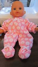 """Pink Buttons Print Flannel Footie Jammies fits 12"""" Corolle Tidoo dolls"""