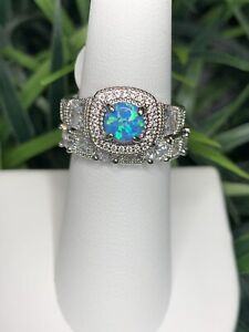 Ring Bomb Party Size 6 Mint Green Fire Opal And White Topaz Ring
