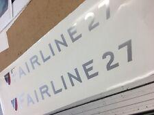 Two Chrome Vinyl Decals, Fairline 27 for sports cruiser power boat 55.5cmx5.6cm