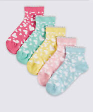 5 PAIRS GIRLS ANKLE SOCKS-Heart Design- 4-7 NEW M&S COTTON RICH MULTI FRESHFEET