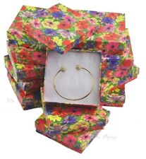 """LOT OF 12 FLORAL COTTON FILLED BOXES JEWELRY GIFT BOXES BRACELET BOXES 3.5""""x3.5"""""""