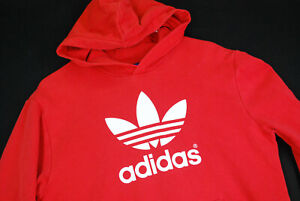 Adidas Trefoil Hoodie Sweatshirt Pullover Youth XL Womens Red Cotton Hip Hop