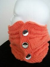 Hand knitted soft neck warmer/scarf, melon/light orange