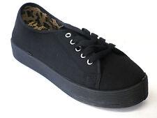 8d4bf603 Zapatos de lona para niña Negro Suela Gruesa ENCAJE Manoletinas moderno