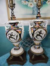 Vintage Antique Capodimonte Porcelian Table Lamp Karate White Black Floral Gold