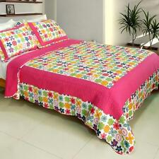 3 Pc Simple Happiness flowers pink blue 100% Cotton Vermicelli Queen Quilt Shams