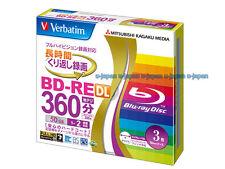 3 Verbatim Bluray 50GB 2x Blank Rewritable Bluray Inkjet Printable BD-RW Repack
