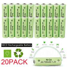 20 AA Rechargeable Batteries NiCd 700mAh 1.2v Garden Solar Ni-Cd Light LED USA