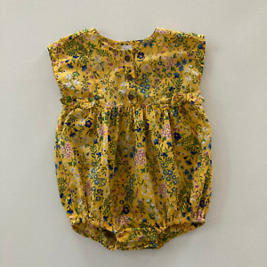 Old Navy 6 12 Months Yellow Floral Bubble Romper Short Sleeve Cotton