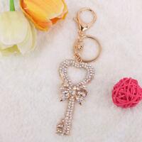 Crystal Diamante Heart Key Bow Charm Keyring Key Chain Bag Pendant Xmas Gift