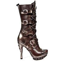 NEWROCK New Rock PUNK 001 Ladies Black Leather Metal Platform Heel Mid Boots