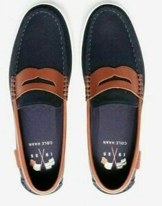 GENUINE COLE HAAN MEN BEAUTIFUL BLUE CANVAS CHESTNUT Leather SLIP ON LOAFERS 10M