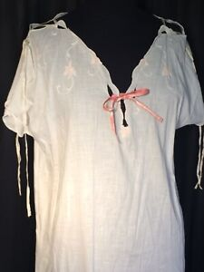 Vintage 100% cotton Maxi nightgown Chemise white Victorian embroidery L XL shift