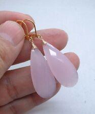 Beautiful Rose Chalcedony Briolette Gold Earrings ---Leverbacks!