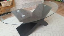 Modern glass table, black coffee table, 110x60x45cm | 43x24x18""