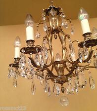 Vintage Lighting matched pair 1960s Hollywood Regency crystal chandeliers