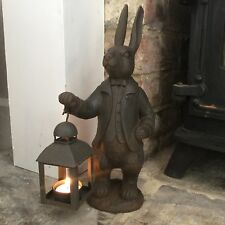 Cast Iron Style Hare Lantern Figurine Ornament Decoration Rabbit Tea light