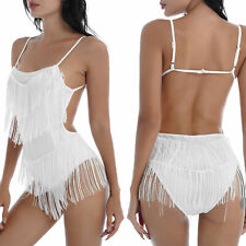 Women Tassel Latin Dance Dress Samba DressOutfit Backless Fringed Leotard Dress