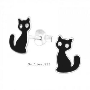 Childrens Girls 925 Sterling Silver Crystal Black Cat Stud Earrings - Gift Pouch