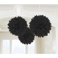 3 Blacks Wedding Engagement Party Hanging Fluffy Tissue Paper Ball Decorations