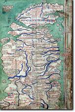 Mappa del Regno Unito da 1250-storico vintage foto stampa-poster Matthew