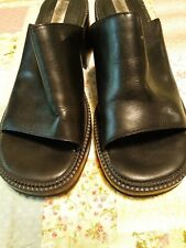 90s vtg Slide Slip on chunky heel Black Leather Wesley & Co Womens Size 8