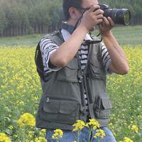 Mens Multi Pocket Utility Shooting Waistcoats Versatile Zip Fishing Vest WM0014