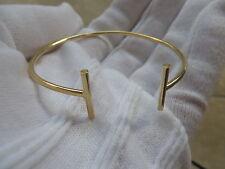 14k Italy Yellow Gold T Wire 2mm Bangle Bracelet. Small Medium