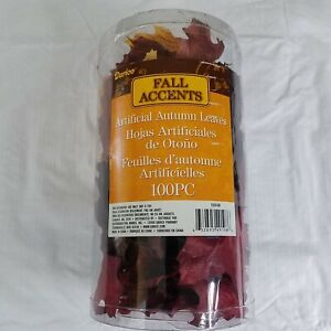 Fall Leaves 100 Pieces Autumn Crafts Decor Burgundy Yellow Orange Red