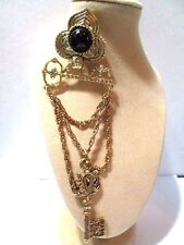 VINTAGE 1980'S LONG LAPEL DANGLE PIN WITH KEYS BLACK STONE RAISED FANCY CARVED