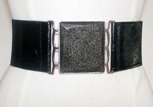 Ladies Girls Stretch Black Belt with Marbled Square Buckle