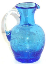 Blue Crackle Blown Glass Pitcher Applied Handle Vintage Collectible