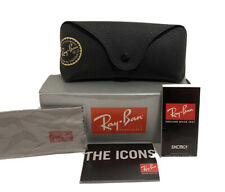Ray-Ban Black Clamshell Sunglasses Case with New Cleaning Cloth, Pamphlets, Box