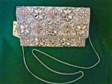 New ACCESSORIZE Gold Beige GRACE Crystal Beaded Shoulder Envelope Clutch BAG