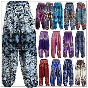 New Ladies Harem Pants Baggy Bohemian Boho Hippie Aladdin Yoga Genie Trousers HP