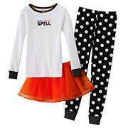 NWT Girls Carters 3-pc Halloween Pajamas Size 4 Cotton Pjs Fall Winter Tutu NEW