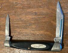 VINTAGE BUCK FOLDING KNIFE-309-BLACK HANDLE W/ LOGO-USA MADE-USED BUT NICE CONDI
