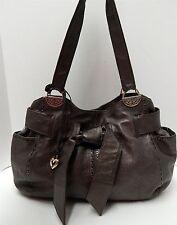 Brighton Cleo Pewter Leather Bow Shoulder Bag
