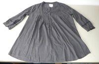 H&M XL Baumwollbluse Bluse Grau Tunika Hemd Baumwolle Leicht Lagenlook  Spitze
