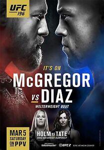 CONOR McGREGOR v NATE DIAZ UFC 196 MMA PROMO POSTER HOLM v TATE