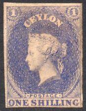 Ceylon, One Shilling stamp, 1/-   Q.Victoria, dating 1857.  SG No. 10.  Star  mm