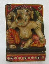 Vintage God Ganesh Wooden Painted Statue Panel Collectible
