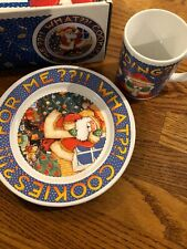 "Mary Engelbreit ""What? Cookies for me?"" set plate and mug Christmas for Santa"